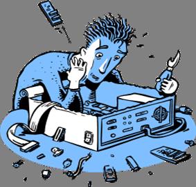 Clip art man fixing computer