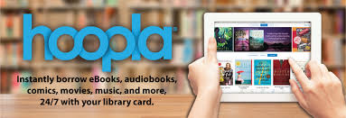 picture of person using hoopla on an ipad. Instantly borrow eBooks, audiobooks, comics, movies, music, and more, 24/7 with your library card